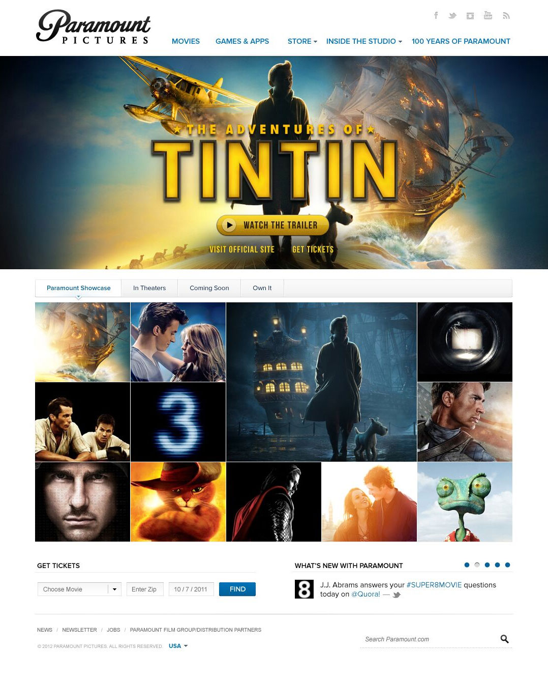 paramountpictures.com home page